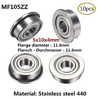 MF74ZZ 4x7x2.5mm Flange bearing Rodamientos de brida Acero inoxidable 440 Rodamientos en miniatura 10 piezas(MF74ZZ) (MF105ZZ)