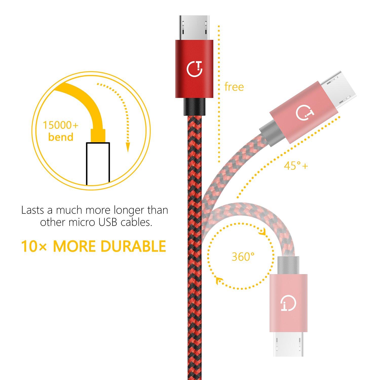 Kindle Nylon Intrecciato Cavo USB Micro USB-Trasferimento Dati e Ricarica per Android Nokia e Altri Nexus Motorola LG Samsung Nero 3 Pezzi:1m,1.5m,2m HTC Sony Gritin Cavo Micro USB,