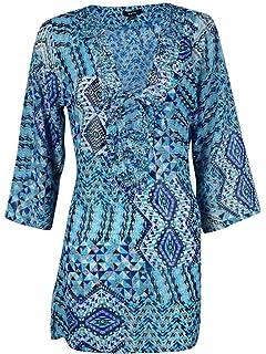 Raviya Women/'s Beaded Print Tunic Coverup S, Multi