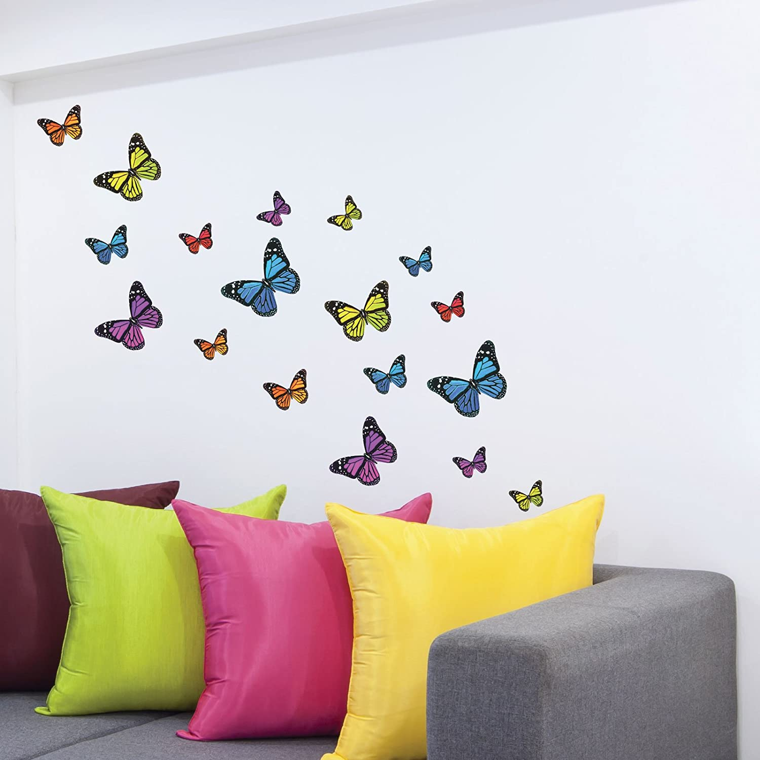Monarch Butterfly Wall Stickers, Wall Decals, 21 Piece Mixed Colours &  Size: Amazon.co.uk: Kitchen & Home