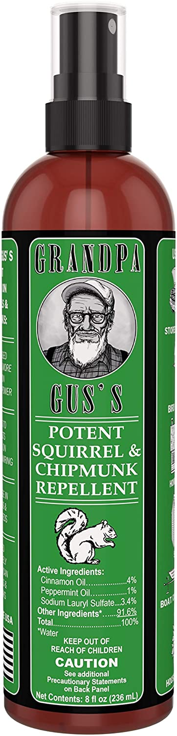 Grandpa Gus's GCC-8-15 Potent Squirrel & Chipmunk Repellent, Water-Based Peppermint/Cinnamon Oil Mix Spray Protects Home, Garden and Wirings, Non-Toxic, Safe To Use Around Kids & Pets, 8oz Bottle