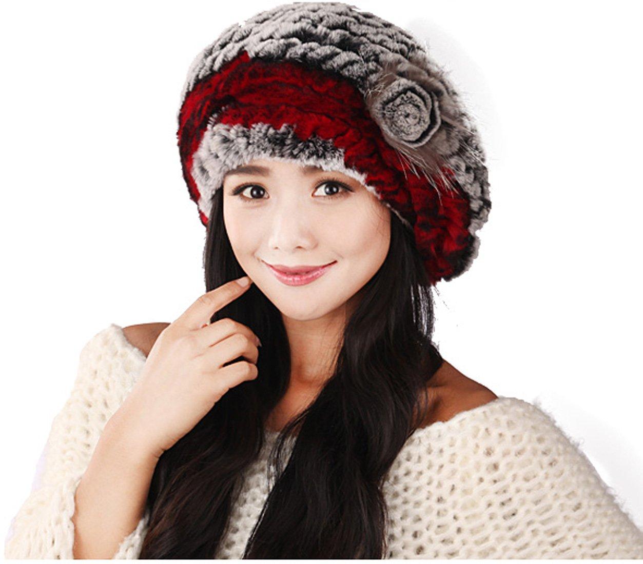 URSFUR Winter Women's Rex Rabbit Fur Beret Hats with Fur Flower (Grey & Red)