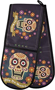 """Sinestour Quilted Double Oven Glove Mitt - Dead Day Dia Muertos Halloween Mexican Skull Oven Mits 35""""x7"""" Cooking Gloves Heat Resistant Kitchen Accessories for Baking, Grilling"""