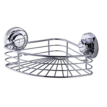 TRUSTMI Suction Cup Corner Shower Caddy Bath Organizer   Stainless Steel    Chrome