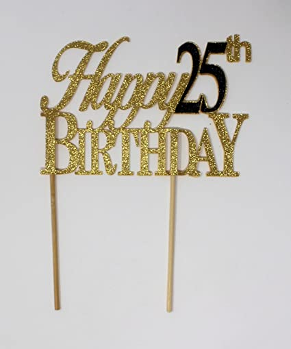 Amazon Black Happy 25th Birthday Cake Topper Kitchen Dining