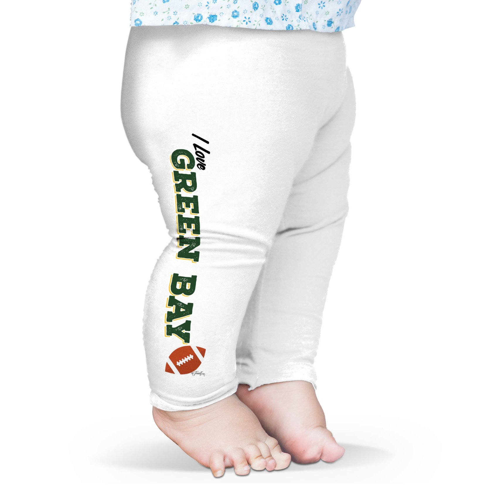 Twisted Envy Baby I Love Green Bay American Football Leggings Trousers 3 - 6 Months White