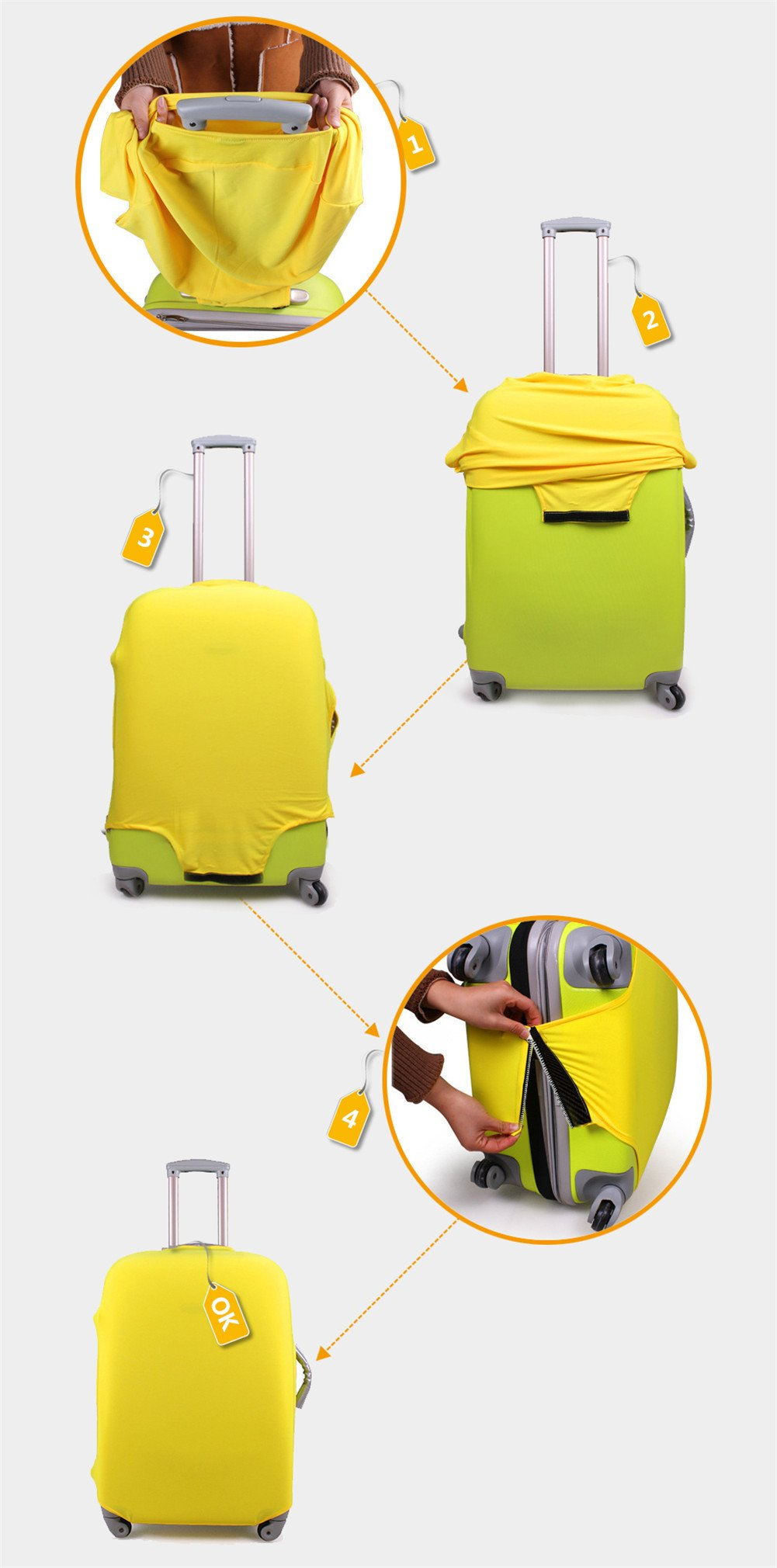 CHAQLIN Travel Rolling Luggage Cover New Design Luggage Sets Suitcase Cover 22-24inch Luggage by CHAQLIN (Image #4)