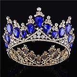 Vintage Rhinestones Crystal Crown for Women Wedding Bridal Tiara Flower Crown Hair Accessories (gold-blue)