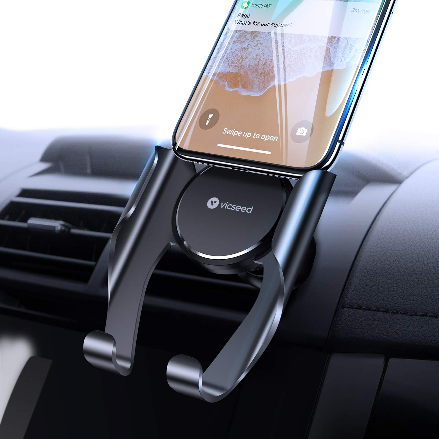 VICSEED Car Phone Mount, Air Vent Phone Holder for Car, Handsfree Cell Phone Car Mount Compatible iPhone 11 Pro Max XR Xs Max Xs X 8 7 6 Plus, Compatible Samsung Note 10 S10+ S10 S9 S8 LG Google Etc. by VICSEED