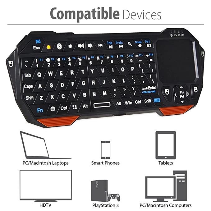 04007d1f850 Amazon.com: Fosmon Portable Lightweight Mini Wireless Bluetooth Keyboard  Controller (QWERTY keypad) w/ Built-In Touchpad for Apple / Android /  Windows ...