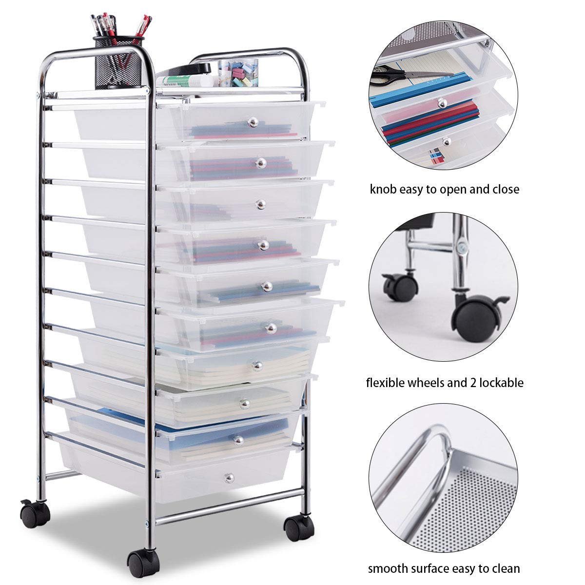 Giantex 10 Drawer Rolling Storage Cart Scrapbook Paper Office School Organizer (Clear) by Giantex (Image #4)