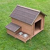 Sylvan Niche en bois avec toit à deux versants pour chien Coin repas surélevé avec boîte de rangement à l'extérieur