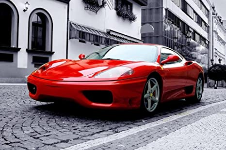 Red Ferrari F430 Exotic Car Photo Automotive Wall Art Canvas Print