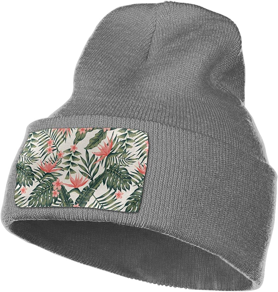 Tropical Brown Green Leaves and Flower and Bird Paradise Unisex Fashion Knitted Hat Luxury Hip-Hop Cap
