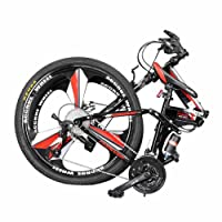 YEARLY Mountain Folding Bikes, Adults Folding Bicycles Off-road Double Shock Absorber Soft Tail 27 Speed Shimano Foldable Bikes