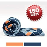 Divine Casa Imperial Geometric Microfibre Single Comforter - Navy Blue and Orange