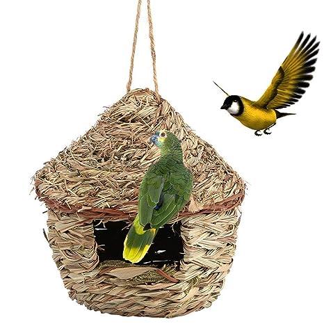 Jaula de nido de paja tejida a mano para pájaros o pájaros en 3 ...