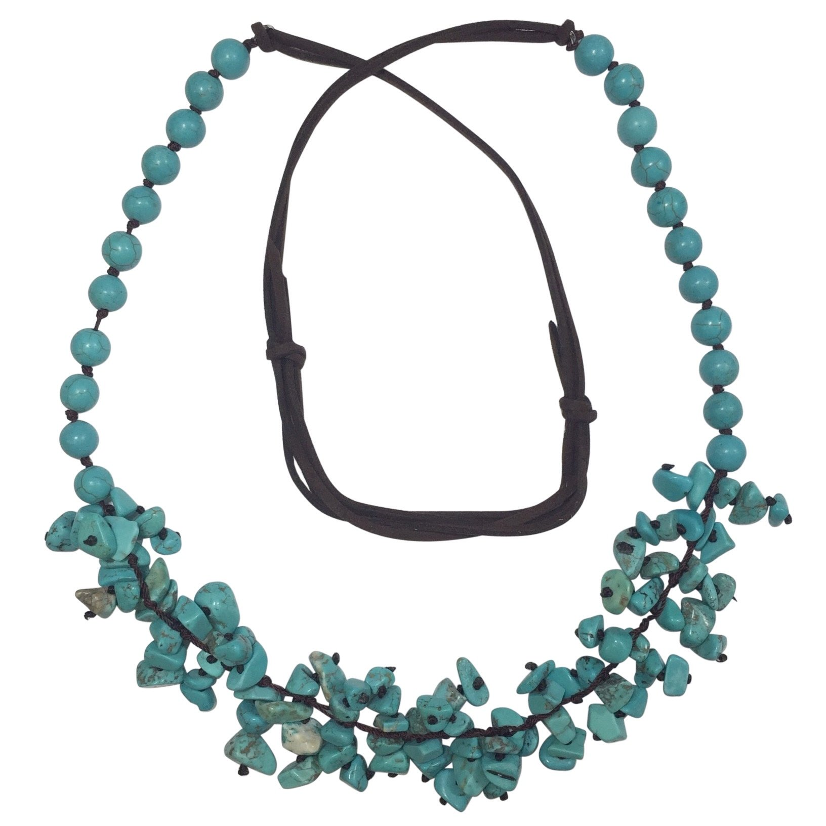 Long Imitation Turquoise Stone Chip Cluster Beaded Brown Cord Necklace by Gypsy Jewels