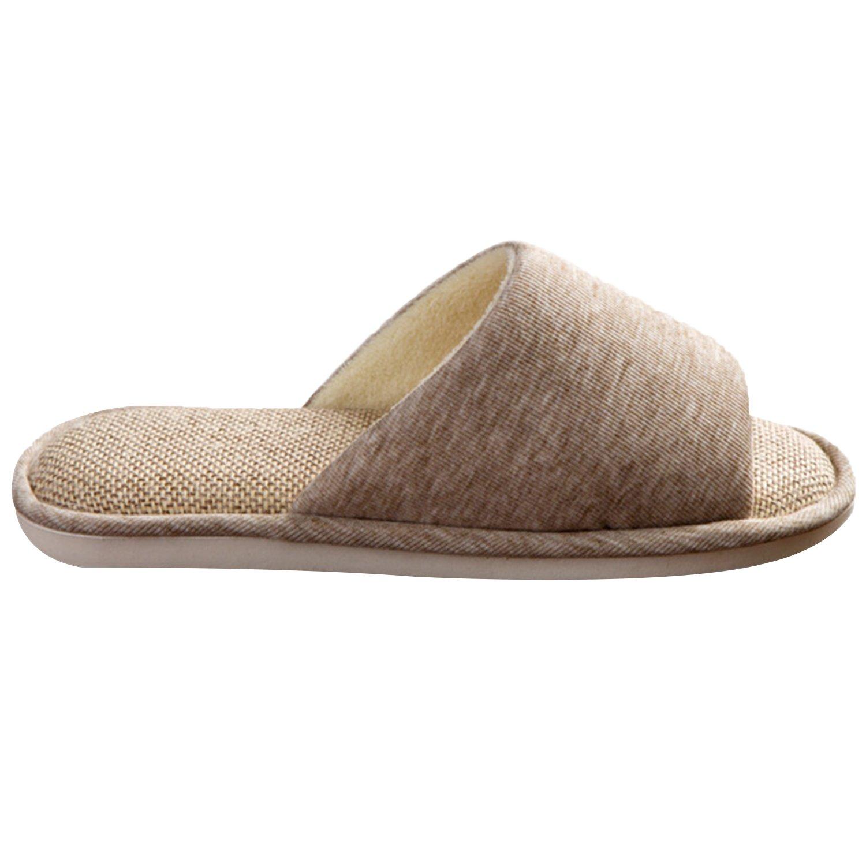 ONCAI Men's Cotton Linen Couple House Slipper Open Toe Terry Slipper (9-10.5 D(M) US, Gray-2) by ONCAI (Image #3)