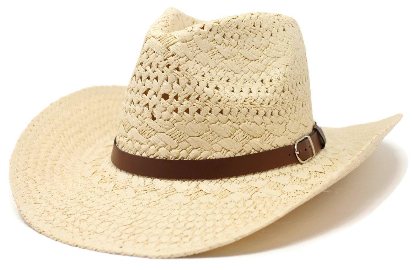 Cowboy Cowgirl Summer Sun Hat Western Rodeo Beach Cap (Beige)
