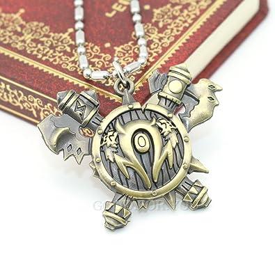 7437de22a32c WOW World of Warcraft Orcos Horde todas las clases Símbolo AX Collar con Colgante  libre 24