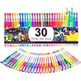 Glitter Gel Pens Colored Fine Point Markers with 40% More Ink for Adult Coloring Books, Drawing, Bullet Journal, Taking Note and Doodling (30 Colors) 30 Colors