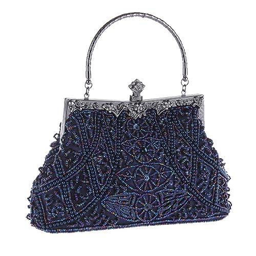 APXPF mujer vendimia bolso de la boda de noche moldeado del bolso del partido de cartera de mano Azul: Amazon.es: Zapatos y complementos