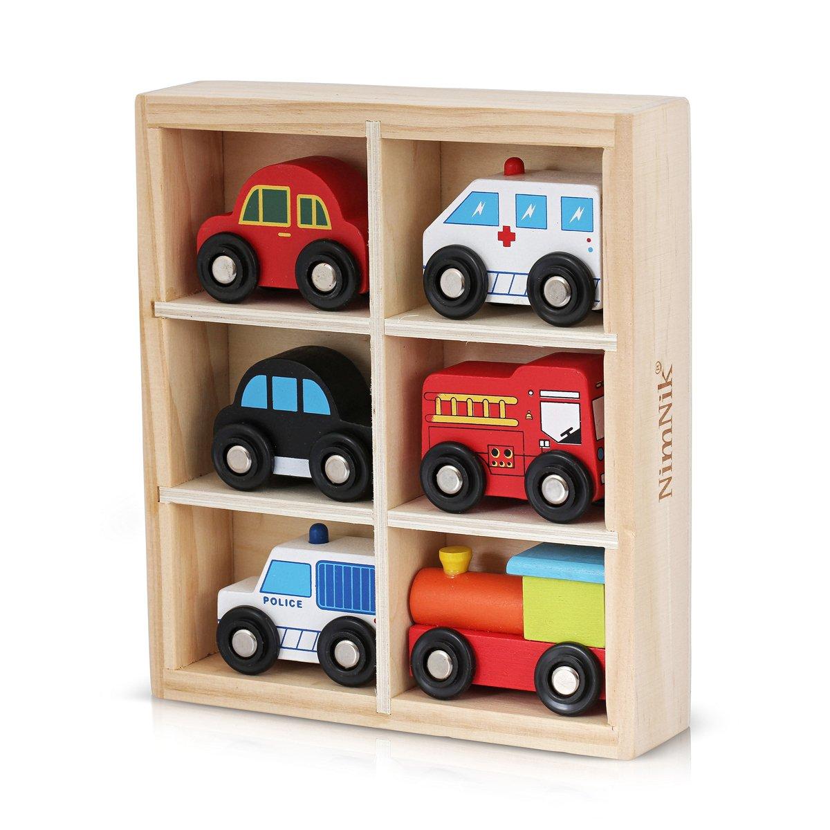 Juguetes de madera Auto Bus Engine Vehículos de emergencia Juguete educativo para