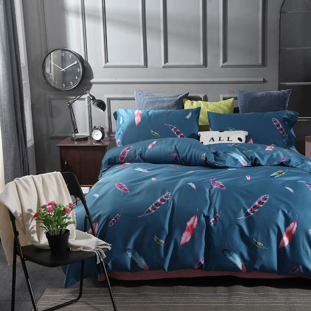 Feather Print Luxury Bedding Set Queen Egyptian Cotton Duvet Cover Set Full Vintage Reversible Bedding