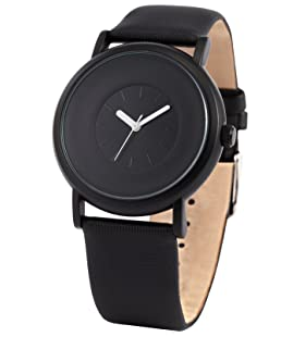 AMPM24 New Fashion Round Men's Women Unisex Black Leather Band Quartz Wrist Watch SNB004