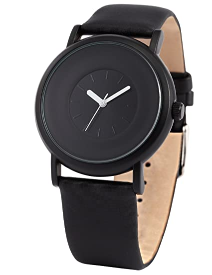 85e8c0ebfd Amazon.com: AMPM24 New Fashion Round Men's Women Unisex Black Leather Band  Quartz Wrist Watch SNB004: Watches