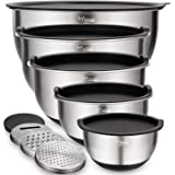 Mixing Bowls Set of 5, Wildone Stainless Steel Nesting Bowls with Airtight Lids, 3 Grater Attachments, Measurement Marks & No