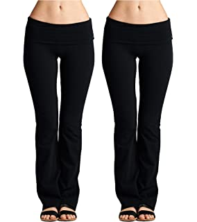 3c277fa11d9041 Women's Fold-Over Waist Lightweight Yoga Pants with Value Pack Options