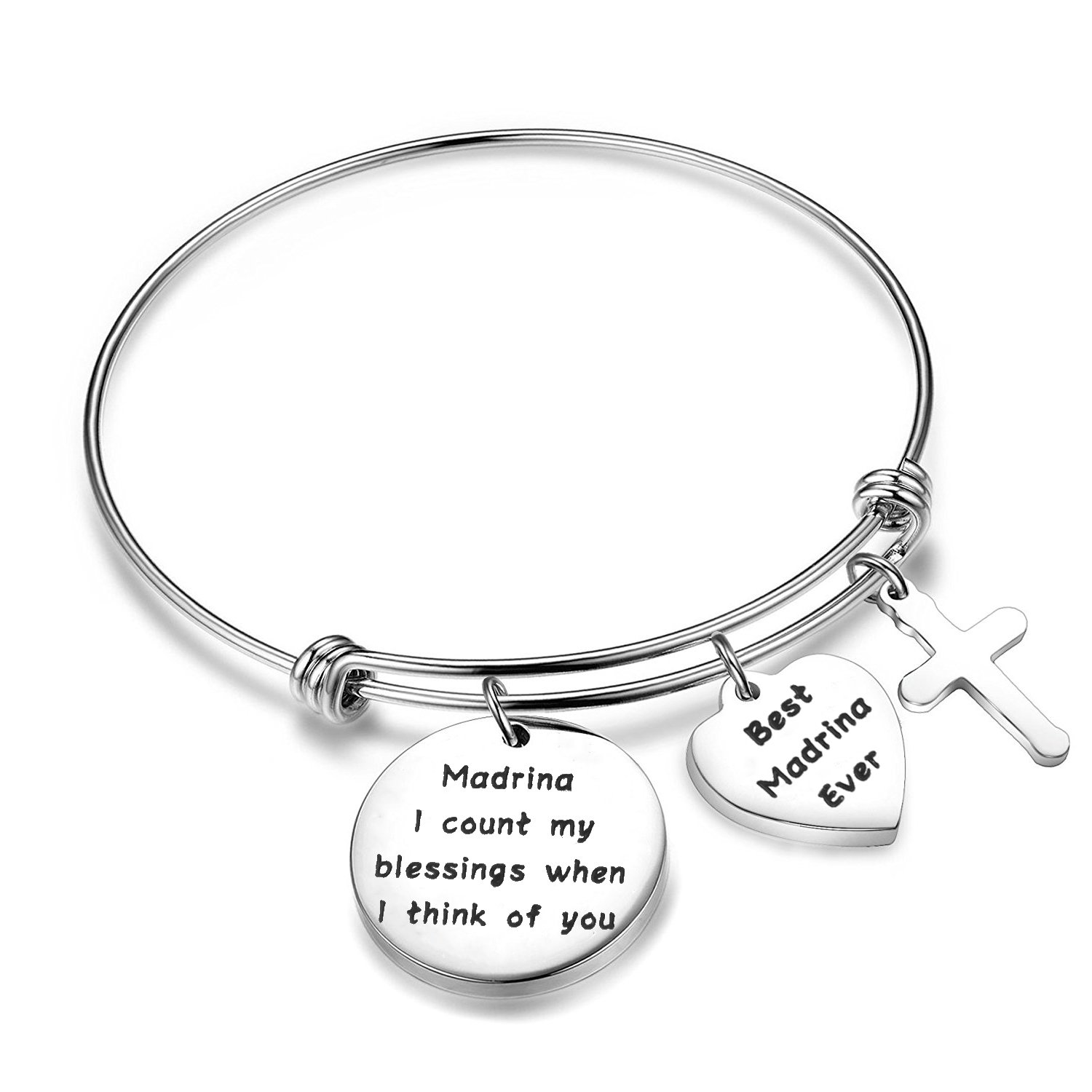 Madrina Bracelet I Count My Blessing When I Think of You Godmother Gift BNQL