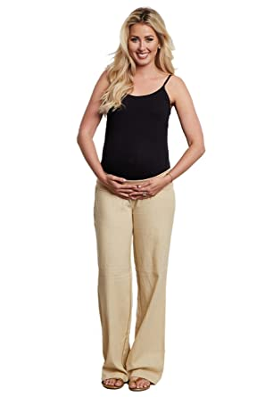 93a420c9b110c Image Unavailable. Image not available for. Color: PinkBlush Maternity  Beige Linen Pants ...