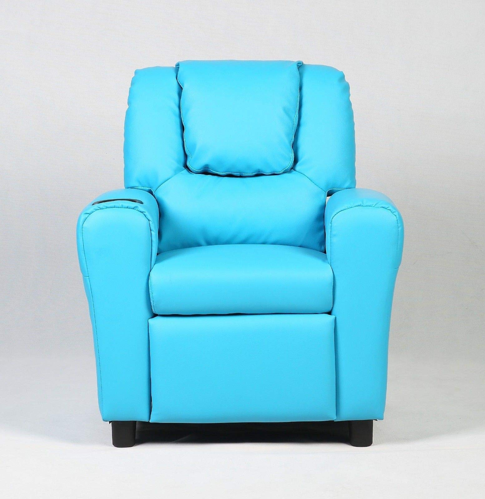 GHP 132-Lbs Capacity Blue PU Sponge & Wood Good Balance Function Kids Recliner Sofa by Globe House Products