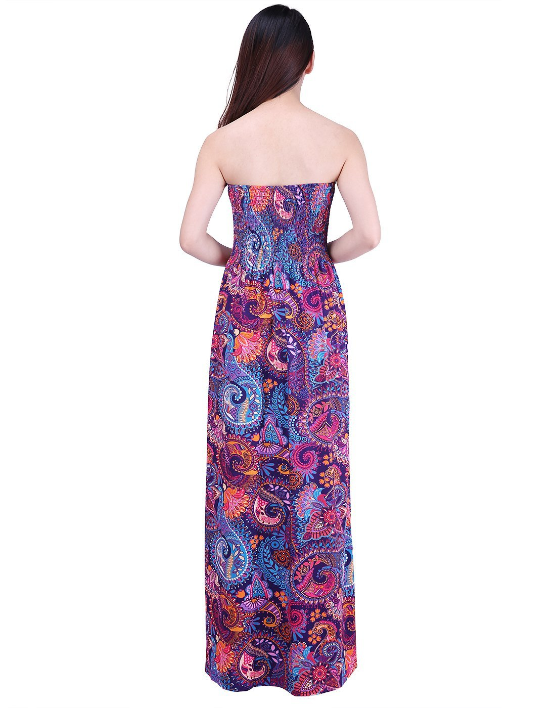 HDE Women's Strapless Maxi Dress Plus Size Tube Top Long Skirt Sundress Cover up (Purple Paisley, 2X) by HDE (Image #4)