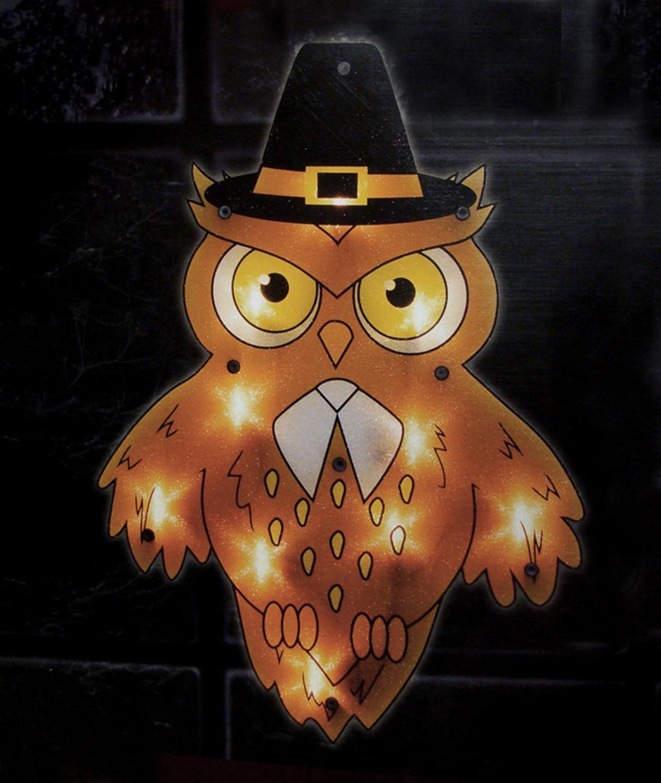 Impact 16'' Lighted Pilgrim Owl Thanksgiving Window Silhouette Decoration