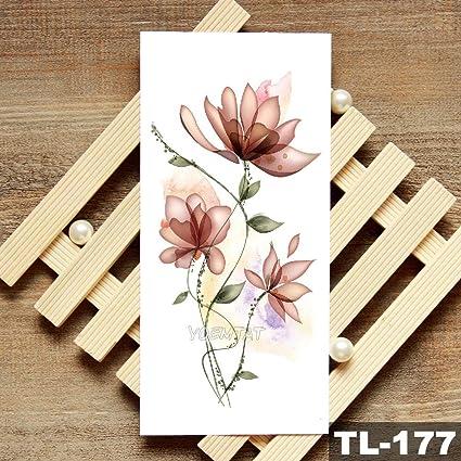 Lotus Peony Rose Flowers Etiqueta engomada del tatuaje temporal a ...