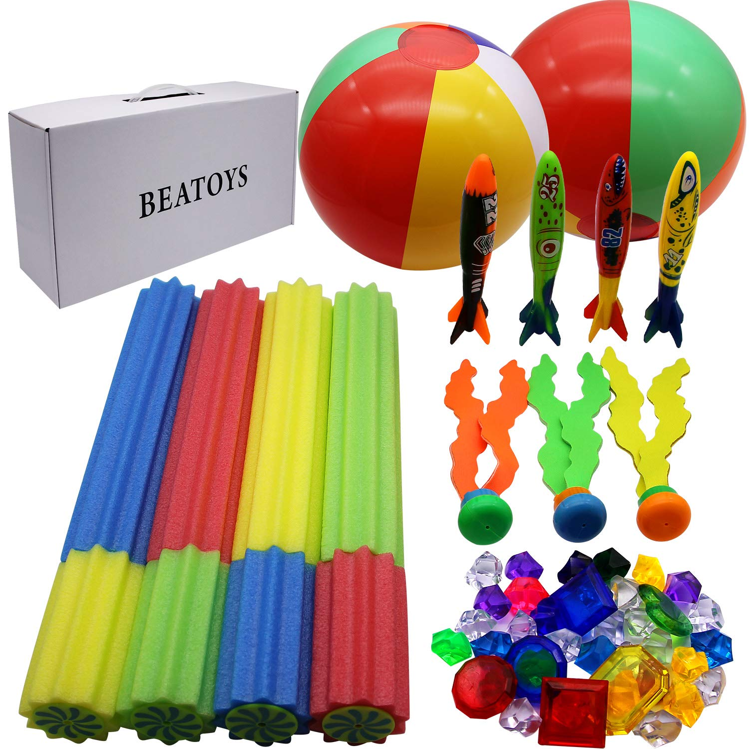 JOINBO BEATOYS 41 PCS Summer Diving Sets with 4 Water Blaster, 4 Torpedoes, 3 Diving Seaweeds, 2 Beach Balls, 8 gems and 20 Diving Jewels