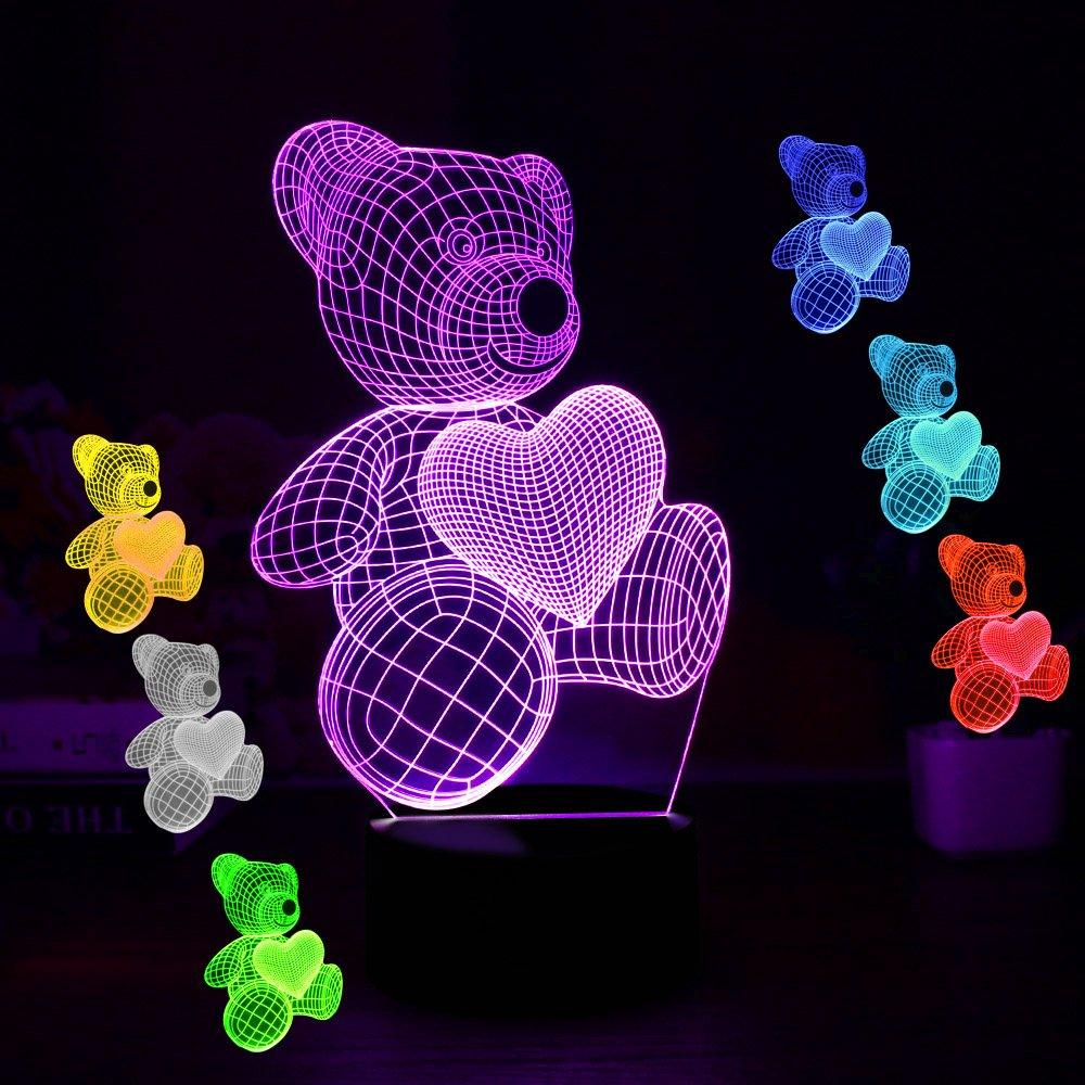 ギフトアイデアナイトライト3dイリュージョンランプ動物ライトLEDデスクランプユニークなギフト赤ちゃんホーム装飾オフィス寝室ウェディングパーティーデコレーション子供部屋照明7色 LLAM03 B07B64XZG5 14711 クマ クマ