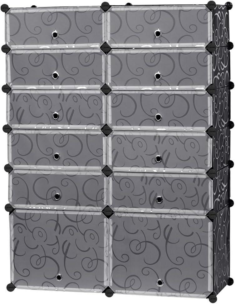 LANGRIA 12-Cube DIY Zapatero, versátil Cubo de Almacenamiento Organizador plástico Armario con Puertas, 10 Cubos y 2 Grandes Cubos: Amazon.es: Juguetes y juegos