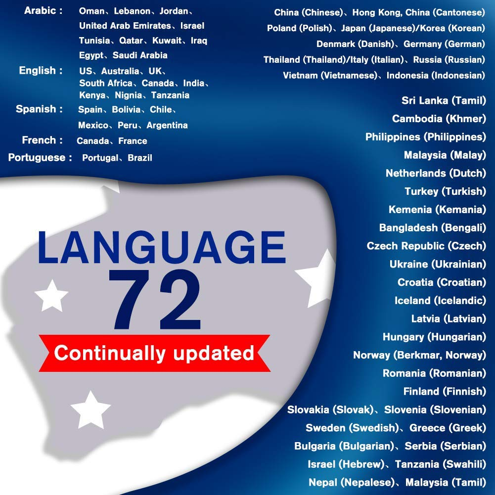 Traductor de idiomas dispositivo, inteligente handheld instantánea digital voces traductor, grabadora electrónica traducción simultánea 72 idiomas, ...