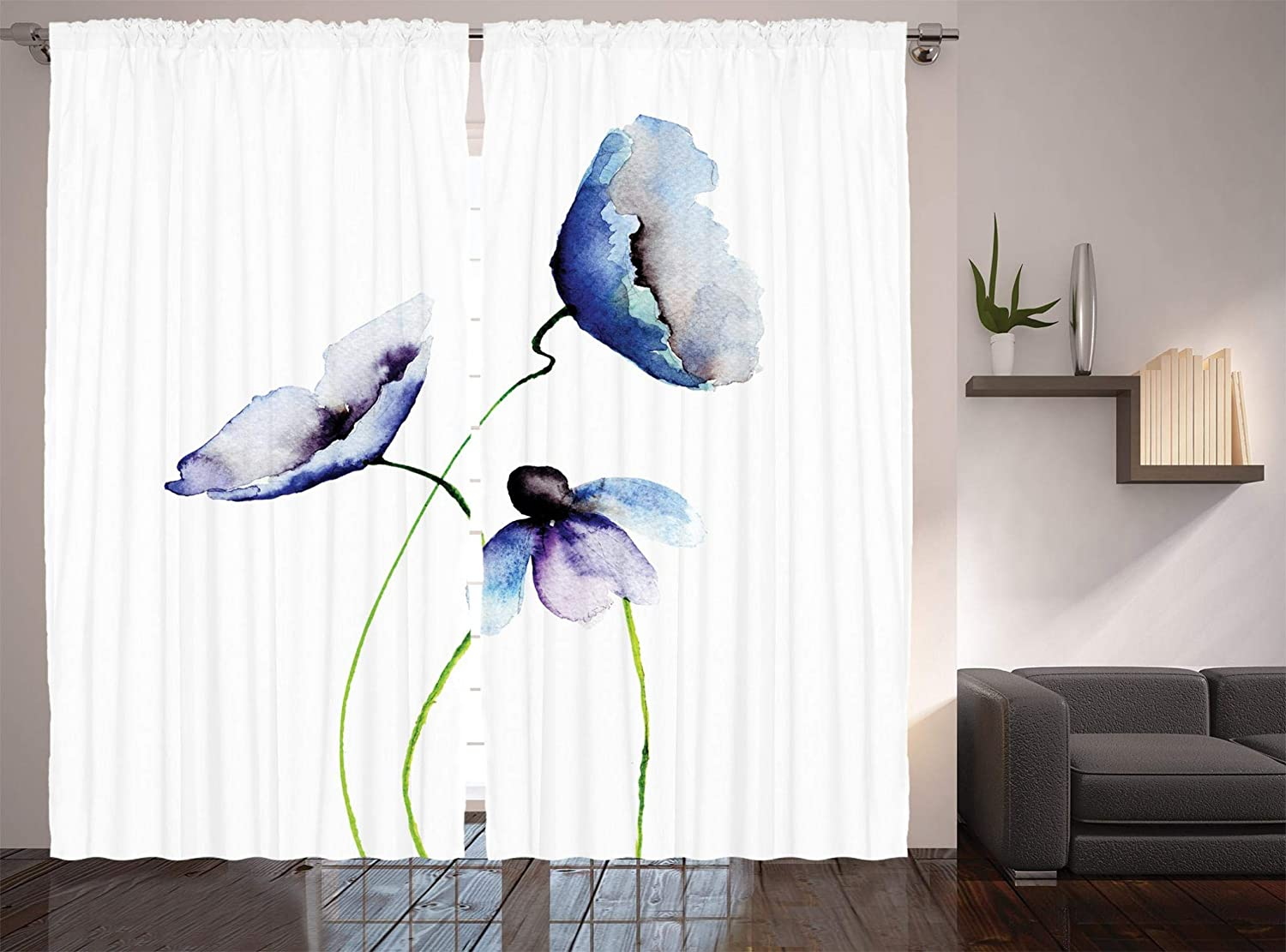 Ambesonne Watercolor Flower Decor Collection, Poppies Wildflowers Blooms in Watercolor Painting, Window Treatments, Living Room Bedroom Curtain 2 Panels Set, 108 X 90 Inches, Navy Blue White Green