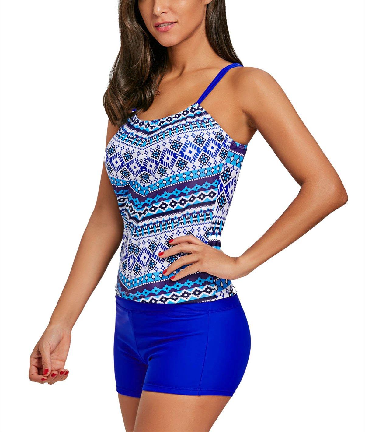FIRENGOLI Women\'s Straps Tankini Swimsuits Sexy Two Piece Swimwear Set Blue 3XL