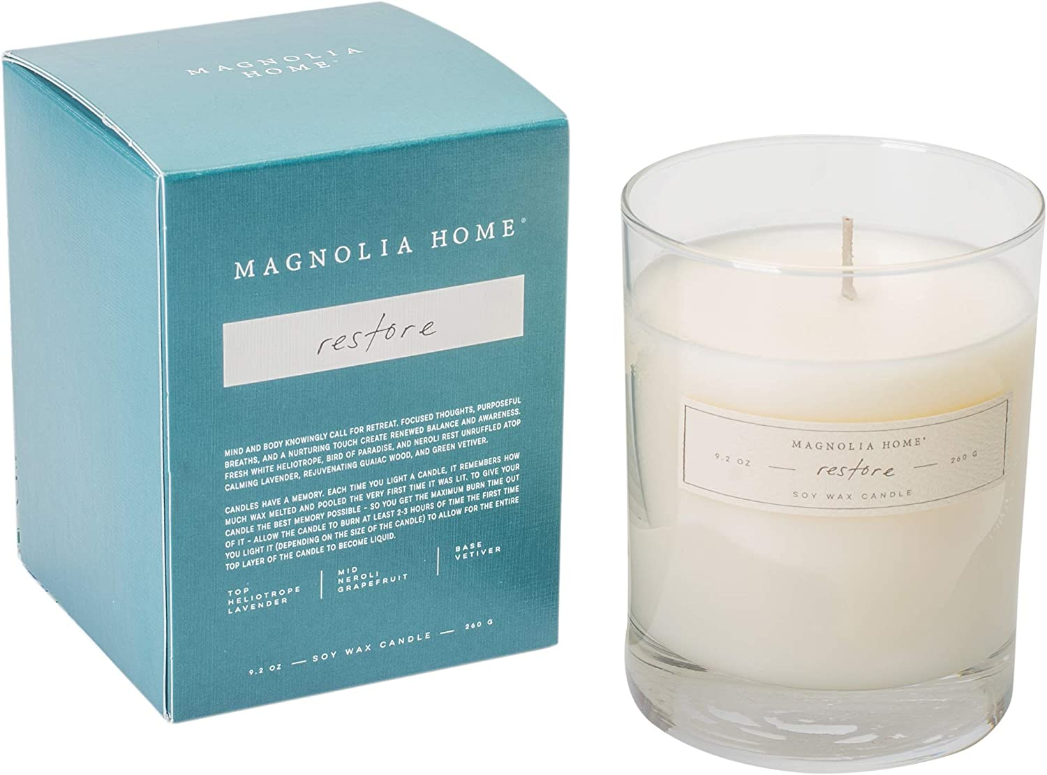 Restore Scented 9.2 ounce Soy Wax Boxed Glass Candle by Joanna Gaines - Illume