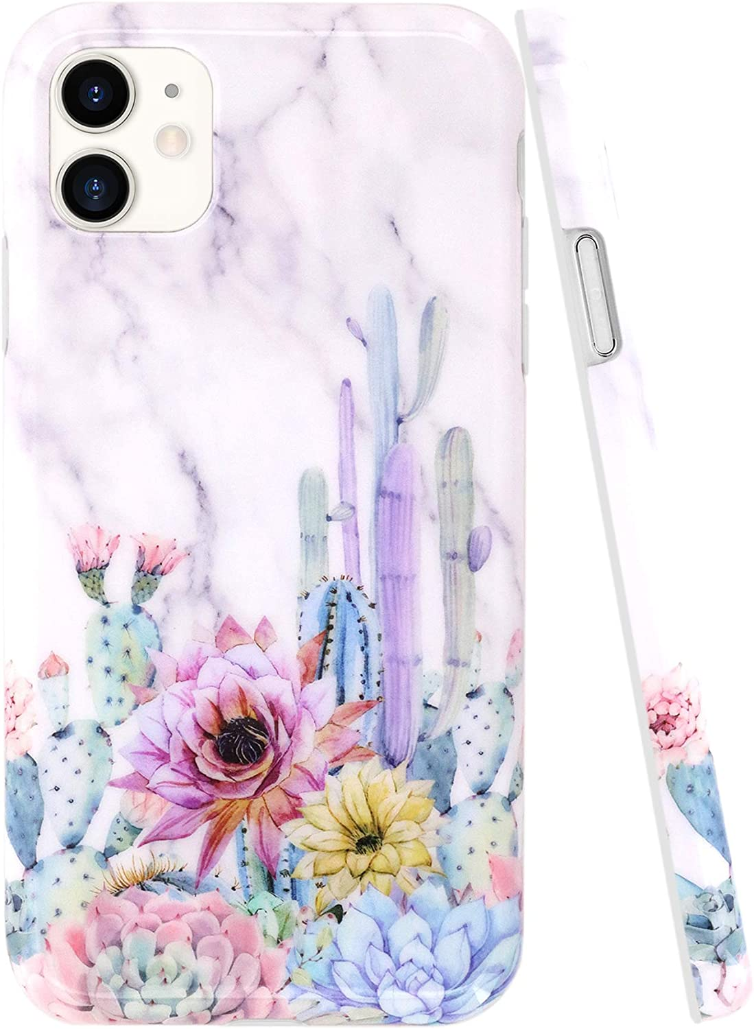 A-Focus Case for iPhone 11 Case Cactus, Cute White Marble Floral Cactus Texture Pattern Protective TPU Silicone Rubber Cover Case for iPhone 11 6.1 inch Glossy Flower Marble Cactus