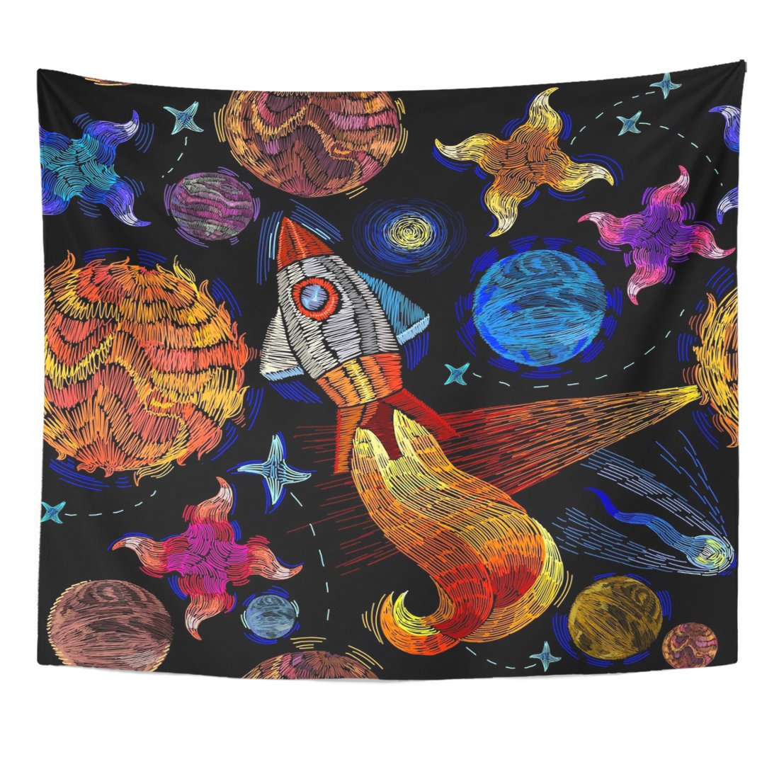 TOMPOP Tapestry Colorful Universe Rocket Planet Solar System Galaxy Space Home Decor Wall Hanging for Living Room Bedroom Dorm 50x60 Inches