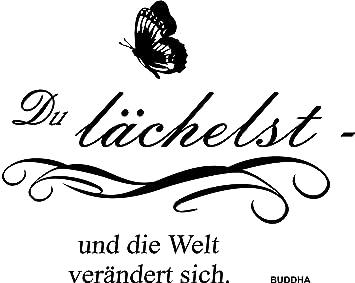 Greenluup Wandtattoo Sprüche Buddha Glück Motivation In Schwarz Mit