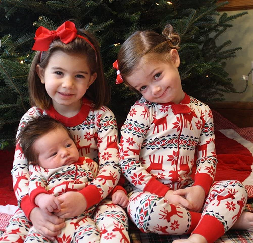 LvRao Family Matching Christmas Pajamas Set Mom Dad Baby Kids Xmas Deer Sleepwear Nightwear